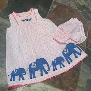 Baby Boden - Embroidered Elephant 🐘 Dress